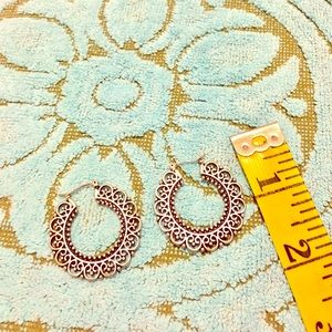 Antiqued silver tone earrings